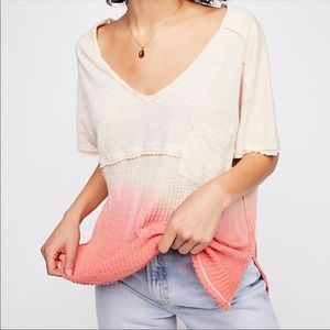 NWT FREE PEOPLE Sun Dial pink Ombré T-shirt